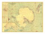 1932 Antarctic Regions Map Kunst af  National Geographic Maps