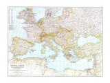 1939 Central Europe and the Mediterranean Map Prints by  National Geographic Maps