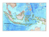 1996 Indonesia Map Plakat af  National Geographic Maps