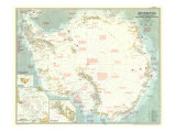 1957 Antarctica Map Plakater af  National Geographic Maps