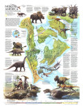 1993 North America in the Age of the Dinosaurs Map Poster di  National Geographic Maps