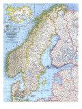 1963 Karta över Skandinavien Affischer av  National Geographic Maps