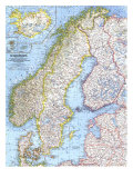1963 Scandinavia Map Art by  National Geographic Maps