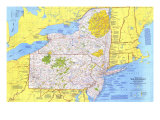 1978 Close-up USA, Northeast Map Premium Giclee-trykk av  National Geographic Maps