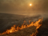 Carefully managed fires sweep across the Flint Hills in spring Fotografisk trykk av Jim Richardson