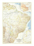 1955 Eastern South America Map Premium Giclee-trykk av  National Geographic Maps