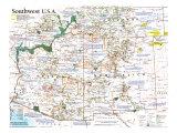 1992 Southwest, USA Map Poster av  National Geographic Maps