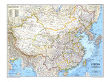 1991 China Map Prints by  National Geographic Maps