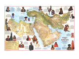 1972 Peoples of the Middle East Map Poster von  National Geographic Maps
