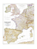 1950 Western Europe Map Plakater af  National Geographic Maps