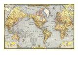 1943 Weltkarte Kunst von  National Geographic Maps