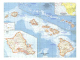 1960 Hawaii Map Premium Giclee-trykk av  National Geographic Maps