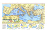 1982 Historic Mediterranean, 800 BC to AD 1500 Map Premium Giclee-trykk av  National Geographic Maps