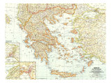 1958 Greece and the Aegean Map Plakater af  National Geographic Maps