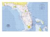 1973 Close-up USA, Florida Map Plakat av  National Geographic Maps