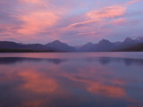 Fall sunset on Lake McDonald looking to the high peaks to the east. Photographic Print by Michael Melford