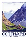 Gotthard, Schweiz Poster av Emil Cardinaux