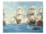 The Battle of Trafalgar Premium Giclée-tryk af Montague Dawson