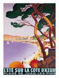 L'Ete sur la Cote d'azur Premium Giclee-trykk av Roger Broders