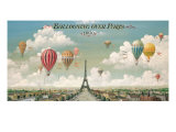 Vol en ballon au dessus de Paris Reproduction giclée Premium par Isiah and Benjamin Lane