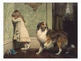 Pigen og hunden Premium Giclée-tryk af Charles Burton Barber