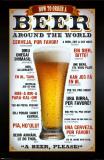 Øl, bestilling verden rundt, på engelsk Plakater