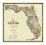 New Map of the State of Florida, c.1870 Plakater av Columbus Drew