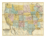National Map of the Territory of the United States, c.1868 Prints by William J. Keeler