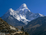 Nepal, Ama Dablam Trail, Temple in the Extreme Terrain of the Mountains Lámina fotográfica