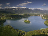 High Angle View of a Lake, Lake Bled, Julian Alps, Bled, Gorenjska, Slovenia Photographic Print