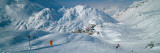 Rear View of a Person Skiing in Snow, St. Christoph, Austria Stampa fotografica