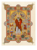 Saint Matthew, an Illuminated Manuscript Page from the Book of Kells, 8th or 9th Century Ad Stampa giclée