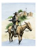 Itinerant Preacher Riding a Mule from Settlement to Settlement Giclée-tryk