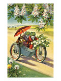 Two Frogs on Motorcycle with Umbrella and Flowers Poster
