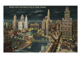Chicago River at Wacker by Night, Chicago, Illinois Poster