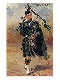Scottish Bagpiper in Full Uniform Poster