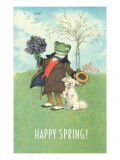 Happy Spring, Dressed Frog and Dog Art
