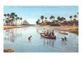 Village on Nile by Pyramids, Egypt Prints