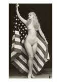 Nude Blonde with U.S. Flag Posters