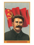Stalin with Soviet Union Flag Poster
