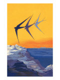 Three Swallows over the Sea Poster