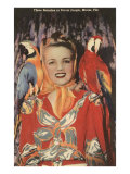 Lady with Macaws, Florida Poster