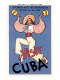 «Visitez Cuba», femme jouant des maracas Affiche