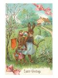 Easter Greetings, Spectacled Rabbit in Dress Art