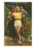 Blonde with Macaws, Florida Poster