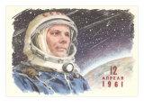 Yuri Gagarin in Cosmonaut Outfit Plakat