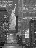 New York– Türme des World Trade Centers und Freiheitsstatue Fotografie-Druck von Jerry Driendl