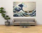 The Great Wave Off Kanagawa , c.1829 Carta da parati decorativa di Katsushika Hokusai