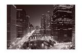 Chicago River Bend, Black & White Fotografie-Druck von Steve Gadomski