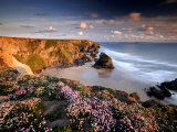 Bedruthan Steps on Cornish Coast, with Flowering Thrift, Cornwall, UK 写真プリント : ロス・ホディノット